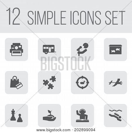 Collection Of Singer, Fish, Checkmate And Other Elements.  Set Of 12 Lifestyle Icons Set.