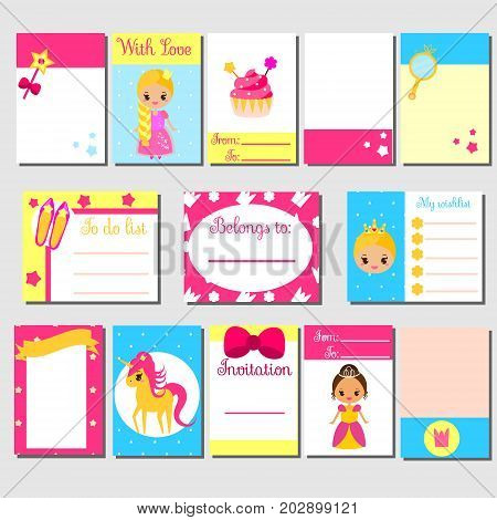 Cards sticky notes stickers labels tags with cute princess characters. Template for kids scrapbook invitations planners diary blog. Stationery for girls