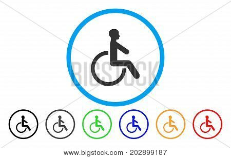 Wheelchair rounded icon. Vector illustration style is a gray flat iconic wheelchair symbol inside a circle. Additional color versions are black, gray, green, blue, red, orange.