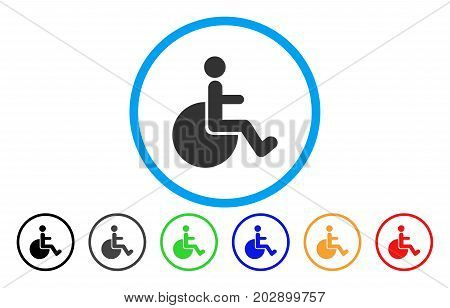 Wheelchair rounded icon. Vector illustration style is a gray flat iconic wheelchair symbol inside a circle. Additional color variants are black, grey, green, blue, red, orange.