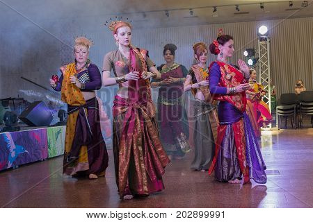 Kiev Ukraine - July 30 2017: Women perform oriental dances in national Indian kostums at the festival