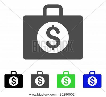 Accounting Case icon. Vector illustration style is a flat iconic accounting case symbol with black, gray, green, blue color versions. Designed for web and software interfaces.