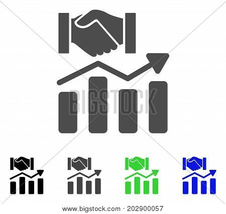 Acquisition Hands Graph Trend icon. Vector illustration style is a flat iconic Acquisition hands graph trend symbol with black, grey, green, blue color versions.