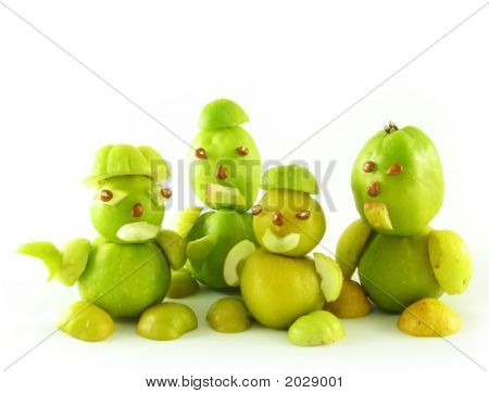 nature compoisition on white: peoples from fruits of quinces poster