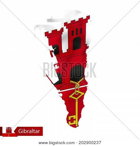 Gibraltar Map With Waving Flag Of Country.