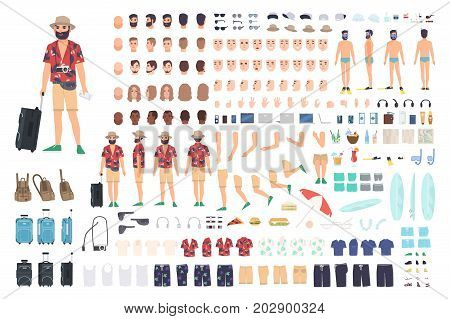 Tourist creation set or DIY kit. Collection of cartoon character s body parts, face with different emotions and skin colors isolated on white background. Vector illustration front, side, back view.