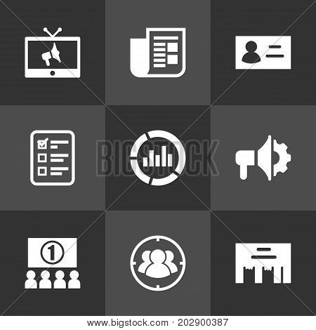 Collection Of Inbox, Ads, Customer Summary And Other Elements.  Set Of 9 Advertising Icons Set.