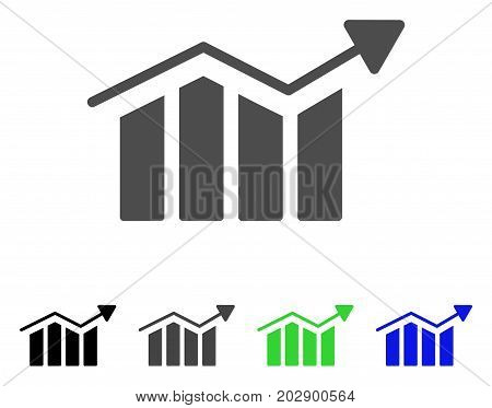 Bar Chart Trend icon. Vector illustration style is a flat iconic bar chart trend symbol with black, grey, green, blue color variants. Designed for web and software interfaces.