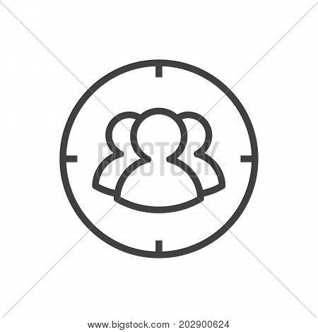 Vector Target Element In Trendy Style.  Isolated Group Outline Symbol On Clean Background.