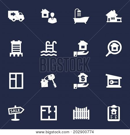 Collection Of Advertisement, Pool, Hypothec And Other Elements.  Set Of 16 Property Icons Set.