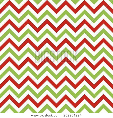 Christmas chevron vector seamless pattern. Zigzag lines background in traditional christmas colors