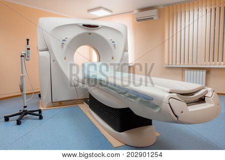 Computed Tomography Or Computed Axial Tomography Scan Machine In Hospital Room. Equipment In Oncolog