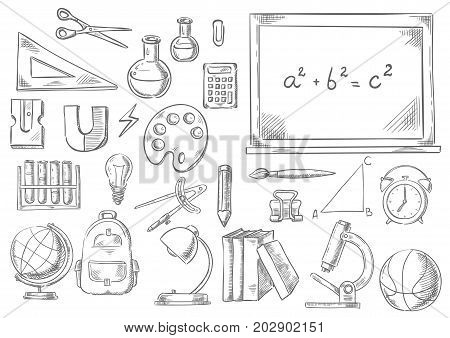 School supplies and study stationery sketch icons. Vector isolated set of math ruler, scissors or calculator on chalkboard, geography globe, physics magnet or microscope and chemistry school book