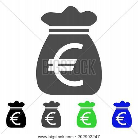 Euro Money Bag icon. Vector illustration style is a flat iconic euro money bag symbol with black, gray, green, blue color versions. Designed for web and software interfaces.