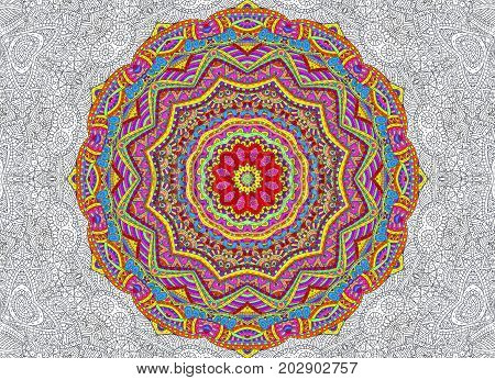illustration with abstract half-painted outline concentric pattern