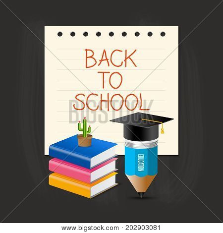Back to school concept. Graduation cap pencil book and cactus over paper note with back to school wording.