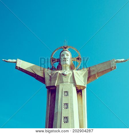 VUNG TAU / VIETNAM, 20 AUGUST 2017 - Christ the King, a statue of Jesus, standing on Mount Nho in Vung Tau city, Ba Ria Vung Tau province, near Ho Chi Minh city, Vietnam