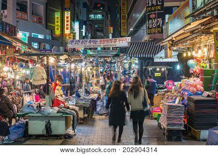 Myeong-dong, Seoul, Korea: April 1,2016: People Shopping And Walking In Namdaemun Street Market At N