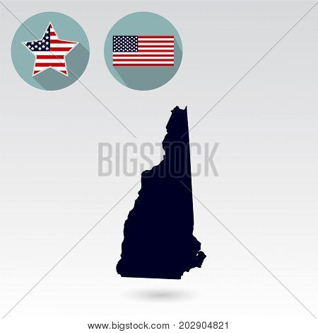 Map of the U.S. state of New Hampshire on a white background. American flag star.