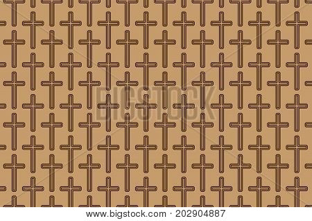 Brown christian cross on brown background - vector pattern  , Religious cross - pattern