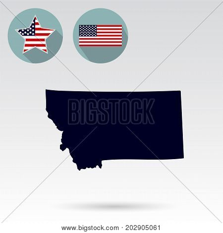Map of the U.S. state of Montana on a white background. American flag star