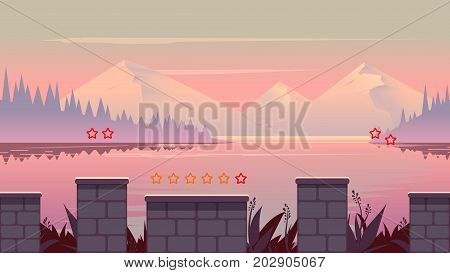 cartoon nature landscape with different platforms and separated layers for games.Vector illustration for your design. size.1920x1080