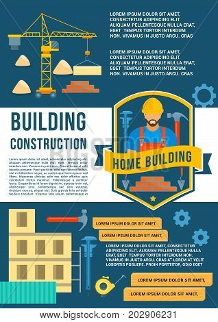 Building and house construction poster. Vector flat design of crane winch with concrete blocks and brickwork, builder in safety helmet with work tools hammer, ruler or wrench and cogwheels