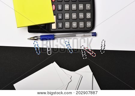 Stationery On Contrasting Colours, Top View