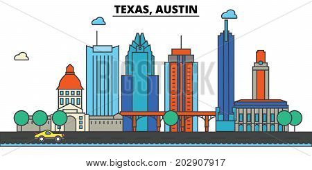 Texas, Austin.City skyline: architecture, buildings, streets, silhouette, landscape, panorama, landmarks. Editable strokes. Flat design line vector illustration concept. Isolated icons