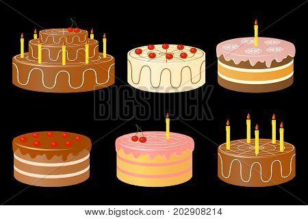Vector illustration of birthday cake on a black background.