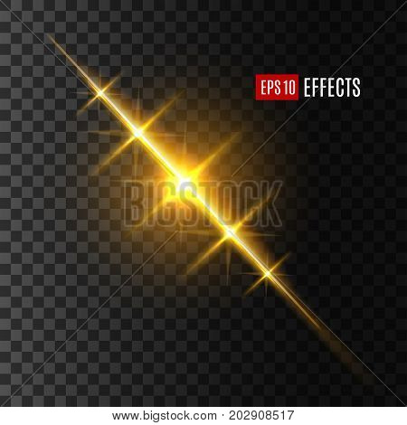 Light effect of sun or starlight flash on transparent background. Vector isolated twinkling star or solar space burst with shining beam or gleaming ray with lens flare or gleaming bokeh glare sparkle