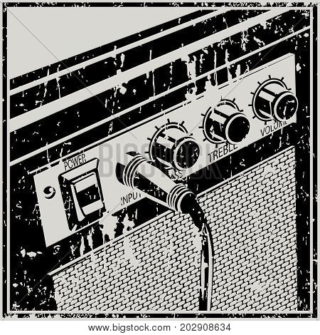Stylized vector illustration of a guitar amplifier in retro style