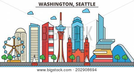 Washington, Seattle.City skyline: architecture, buildings, streets, silhouette, landscape, panorama, landmarks. Editable strokes. Flat design line vector illustration concept. Isolated icons