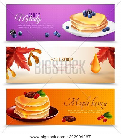 Maple syrup horizontal banners set with pancakes and chocolate cartoon isolated vector illustration