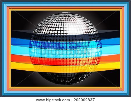 3D Illustration of Silver Disco Ball Wrapped in Multicoloured Stripes Over Black Background with Rainbow Frame