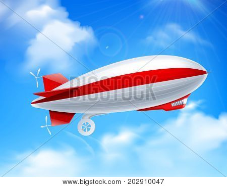 Colored and realistic zeppelin on sky composition with big dirigible in the sky vector illustration