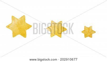 Gold Five-pointed stars from decorative paint with sparkles. Golden brush stroke. Watercolor texture paint. Stars isolated on white. Abstract hand painted. Golden background. Christmas Star.
