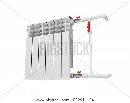 Heating White Radiator Isolated On White Background 3D Without Shadow