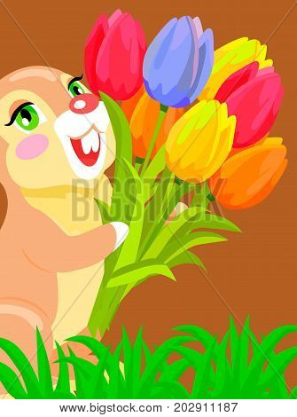 Cute bunny on grass holding bouquet of colorful tulips cartoon vector. Romantic gift concept with scented flowers posy and fluffy animal for easter, valentines, mother day greeting cards design