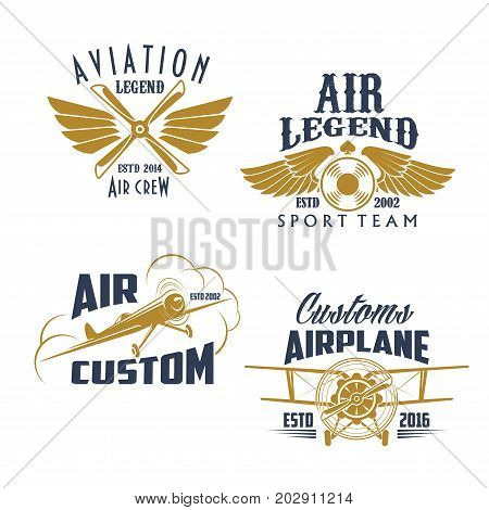Airplane propeller and wings retro icons. Vector isolated symbols and badges of vintage aircraft airscrew for aviation legend or flight adventures and air customs or pilots sport team