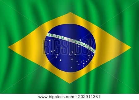 Brazil flag of green, yellow and blue globe with line. Vector Brazilian republic country official national flag waving with curved fabric or waves texture