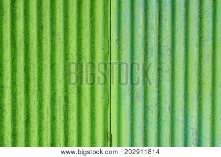 Close up Green corrugated iron metal for background