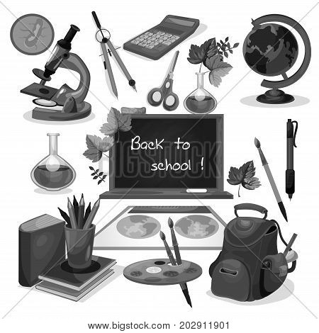 Back to School blackboard welcome poster design. Vector icons of lessons stationery and study book, backpack or rucksack and geography globe, geometry ruler and microscope for september school time