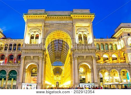 Milan, Italy - May 03, 2017: The people near Galleria Vittorio Emanuele in Milan at Italy on May 03, 2017