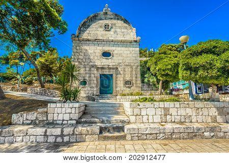 View at small church on Island Hvar, historic landmarks in Croatia, Europe.