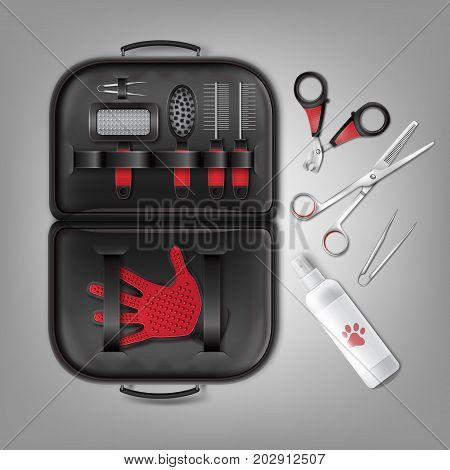 Vector set of accessories for grooming of cats and dogs with combs, nail clipper and brushes. Top view, isolated on gray background