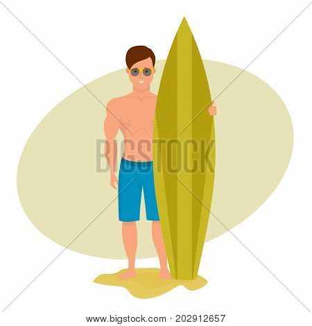 Summer vacation on the sea and the beach. Surfer man is holding board for swimming, posing and spending an active vacation on the sea. Character person. Vector illustration isolated in cartoon style.