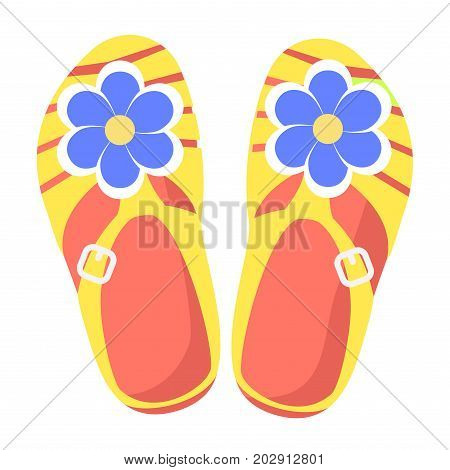 Casual summer yellow slippers with blue flowers isolated on white background. Women comfortable footwear for beach walks and housework outfits. Fashionable and handy women footwear vector illustration.