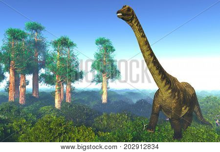 Prehistoric landscape with big diplodoc 3d rendering