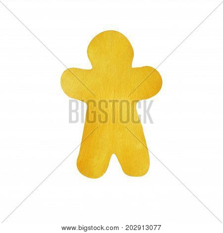 Gingerbread man painted with decorative brilliant golden paint. Christmas symbol on isolated white background. Golden brush stroke. Christmas gold glitter elements.